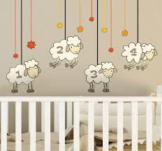 stickers mouton chambre bébé stickers illustrations pour chambre enfant tenstickers