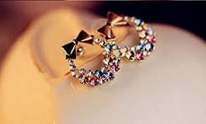 earring on ear fashion hot sweet lovely bowtie garland rhinestone earring
