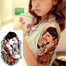 tattoo girl owl 2pcs fake tattoo sticker on the body art sexy girl owl tattoo wolf