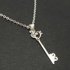 skeleton key silver music note necklace pendant treble clef