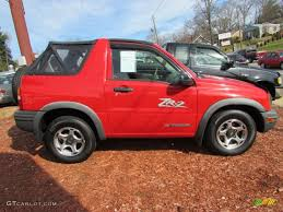 chevy tracker wildfire red 2001 chevrolet tracker zr2 soft top 4wd exterior