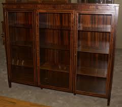 Vintage Bookcase With Glass Doors Mahogany Empire Revival Paw Foot Door Mahogany Bookcase