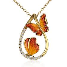 wholesale animal necklace images Wholesale necklace gold plated brown butterfly animal drop clear JPG
