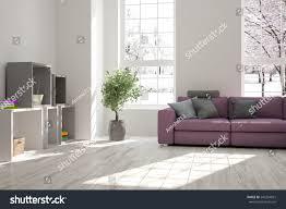 white room sofa winter landscape window stock illustration