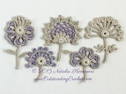 crochet flower motif applique pattern set of 5 pdf instant