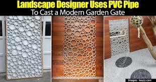 landscape designer uses pvc pipe to cast a modern garden gate