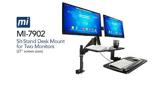 mount it mi 7902 sit stand desk mount for dual monitors up to 27