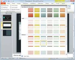 powerpoint design colors table design color and styles in powerpoint presentation