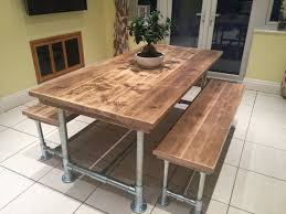 reclaimed scaffold board dining table and bench set 6x3 urban