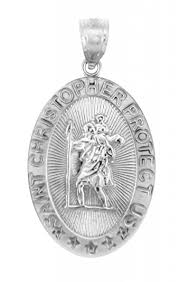 catholic pendants 925 sterling silver st christopher medal patron