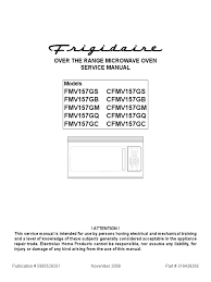 frigidaire over the range microwave oven service manual switch