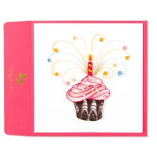 quilled blue butterfly on branch birthday card