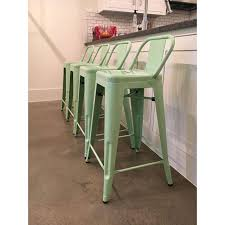 Tolix Bar Table Tolix Style Mint Green Counter Stools Set Of 4 Chairish