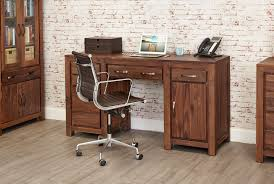 Pedestal Computer Desk Mayan Walnut Pedestal Hardwood Computer Desk