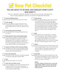 Household Items Checklist by New Pet Checklist Bespoke Veterinary Services