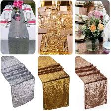 fabric for table runners wedding glitter gold chagne silver sequin table runner tablecloth wedding