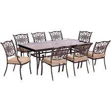 traditions 9 piece dining set in tan with extra long glass top