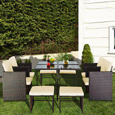 Acacia Wood Outdoor Furniture by Garden Furniture Set Dining Table And 8 Chair Rattan Wicker Acacia