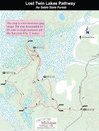 map of michigan lakes lost lakes pathway michigan trail maps
