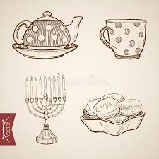 engraving vintage hand drawn vector kettle cake ca stock vector