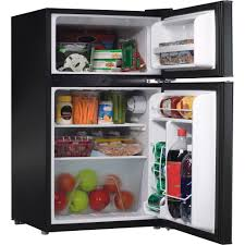 table top freezer glass door galanz 3 1 cu ft compact refrigerator double door black walmart com