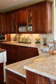 kitchen design ideas org cherry kitchen cabinets with gray wall and quartz countertops