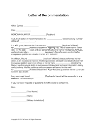 Letter Of Commendation Free Military Letter Of Recommendation Templates Samples And