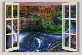 wall decals stickers home decor home furniture diy canyon waterfall window view repositionable color wall sticker wall mural 3 feet