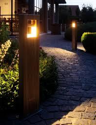 Landscape Bollard Lights Royal Botania Log Teak Stainless Steel Royalbotania