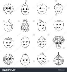 emotional outline vegetables fruit icons on stock vector 578174398