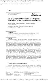 development of emotional intelligence towards a multi level