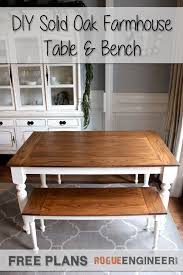 farm table with bench diy solid oak farmhouse bench free easy plans regarding table with