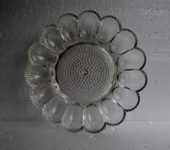 glass egg plate vintage indiana glass clear hobnail thousand deviled egg