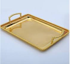 wedding serving trays 34cm 22cm small size gold plated rectangle metal food tray metal