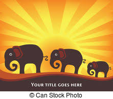 elephant family illustration featuring a family of vector