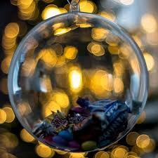 x5 baubles decorations 120mm fillable empty clear