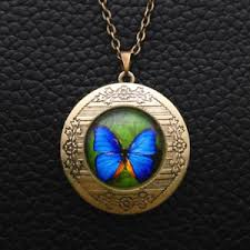 photo locket pendant necklace images Retro butterfly glass cabochon bronze chain photo locket pendant jpg