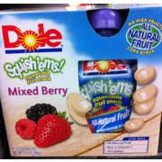 dole fruit snacks dole squish ems squeezable fruit snacks mixed berry calories