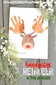 free printable reindeer activities handprint reindeer w free printable template free printable