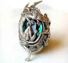 gothic jewelry rings images Silver dragon ring emerald swarovski gothic ring by leboudoirnoir jpg