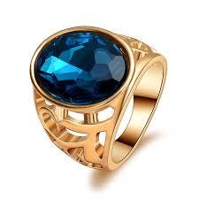 blue men rings images Vintage men ring biker blue stone crystal ring punk jewelry gold jpg