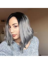 black grey hair custom grey ombre bob hairstyle straight virgin hair full lace wig