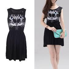 european style sleeveless dress blue eye cat print cotton vest dress