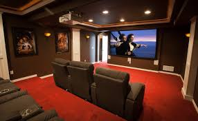 elkstone theater in a finished basement contemporary home