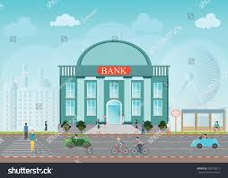 Building Exterior by Bank Building Exterior City Space Skylines Stock Vector 409728217