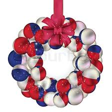 French Christmas Decorations Christmas Wreath Decoration From Canada Baubles On White Stock