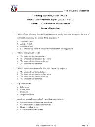 multi choice question paper msr wi 1 welding metals