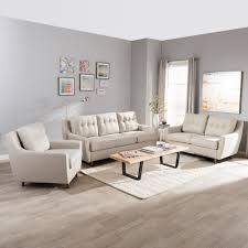 livingroom set baxton studio mid century modern light beige fabric