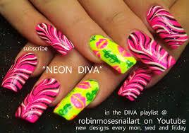 black and white zebra print on neon pink nails design tutorial