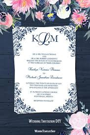 Wedding Template Invitation Kaitlyn Wedding Invitation Navy Blue Wedding Template Shop